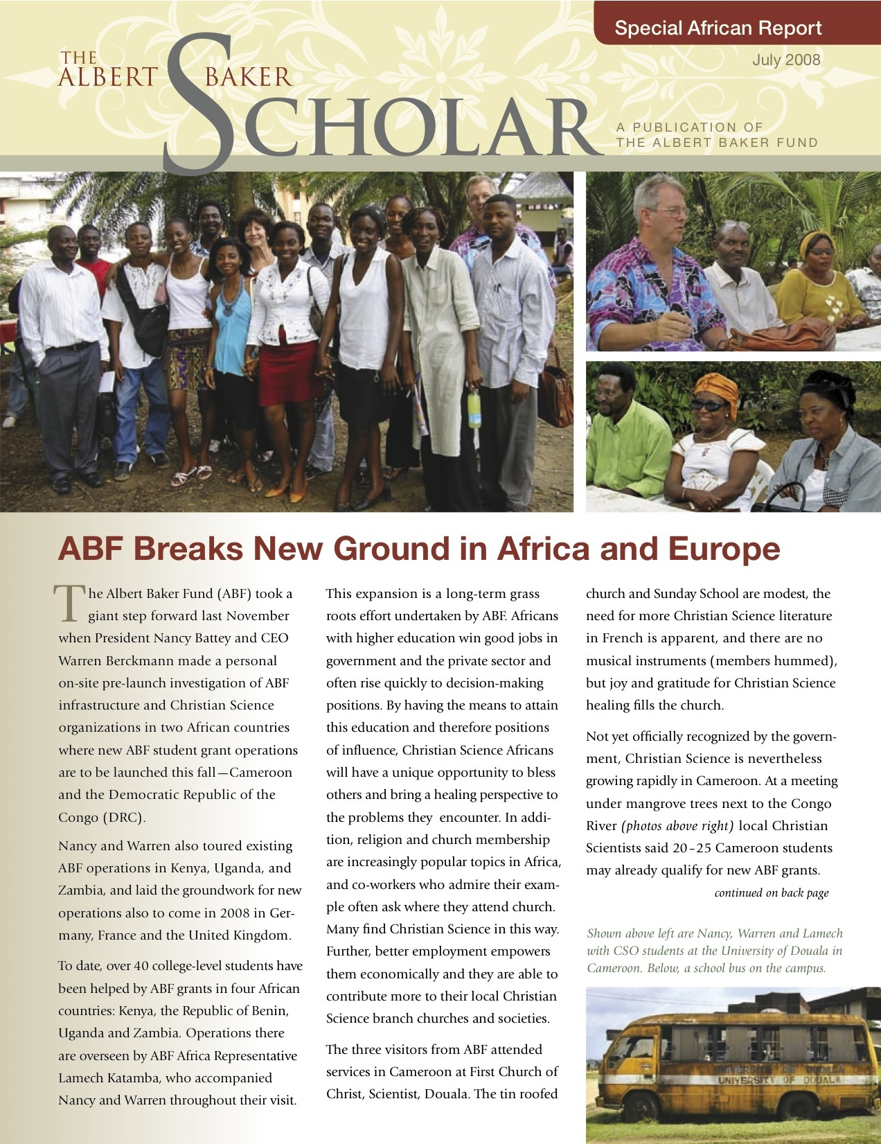 The Albert Baker Scholar Newsletter - July 2008 Special African Report